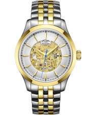 Rotary GB05033-06 Mens champagne two tone vergulde skelet mechanisch horloge