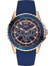 Guess W0485G1 Mens maverick blauwe siliconen band horloge