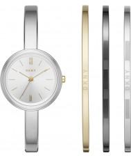 DKNY NY2577 Dames zilveren horloge met drie armbanden gift set