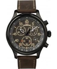 Timex T49905 Mens zwart bruin expeditie gebied chronograafhorloge