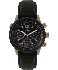 Rotary GSI00121-04 Mens AquaSpeed piloot chronograaf zwart lederen band horloge