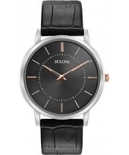Bulova 98A167 Mens ultra slanke zwarte lederen band horloge