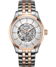 Rotary GB05034-06 Heren two tone rose goud verguld skelet mechanisch horloge