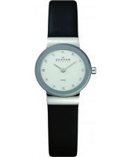Skagen 358XSSLBC Ladies klassik zwart lederen band horloge