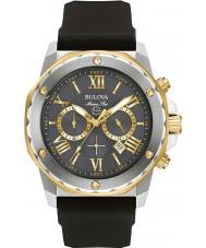 Bulova 98B277 Mens marine staal ster zwarte rubberen band horloge