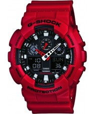 Casio GA-100B-4AER Mens G-SHOCK wereldtijd rode hars Strap Watch