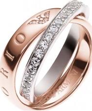 Emporio Armani EG3123221-8 Ladies handtekening two tone ring - size p
