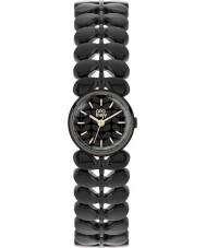 Orla Kiely OK4024 Ladies laurier mat zwart stalen armband horloge