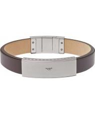 Emporio Armani EGS1881040 Mens handtekening bruin lederen armband