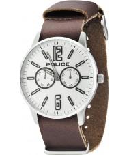 Police 14766JS-04 Mens Esquire x donker bruin lederen band horloge