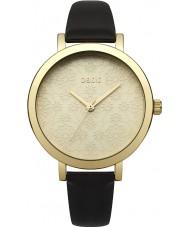 Oasis B1544 Dames zwart lederen band horloge