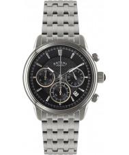 Rotary GB02876-04 Mens uurwerken monaco zwart zilver chronograafhorloge