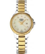 Rotary LB90118-41 Ladies les originales sleutelbloem two tone gouden horloge