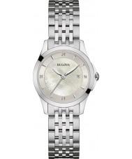 Bulova 96S160 Ladies diamant galerie zilveren stalen armband horloge