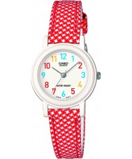 Casio LQ-139LB-4BER Junior collectie rode en witte lederen doek band horloge