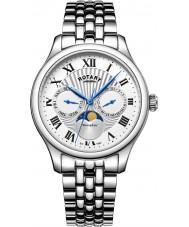 Rotary GB05065-01 Mens uurwerken maanstand zilveren chronograafhorloge