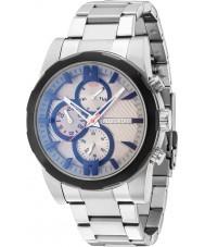 Police 14541JSTB-13M Mens matchcord zilveren stalen armband horloge