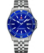 Swiss Military 6-5161-2-04-003 Mens vlaggenschip zilveren stalen armband horloge