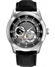Bulova 96A135 Mens automatische zwart lederen band horloge
