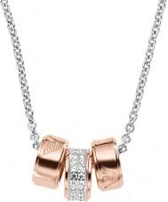 Emporio Armani EG3045040 Ladies handtekening rose gouden ketting met zilveren rolo ketting
