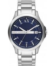 Armani Exchange AX2132 Mannen blauwe zilveren armband jurk horloge
