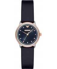 Emporio Armani AR2066 Dames jurk blauw lederen band horloge