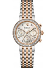 Bulova 98W215 Ladies diamant two tone stalen armband chronograaf