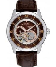 Bulova 96A120 Mens automatische bruine lederen band horloge
