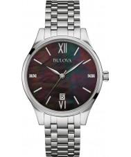 Bulova 96S162 Ladies diamant galerie zilveren stalen armband horloge