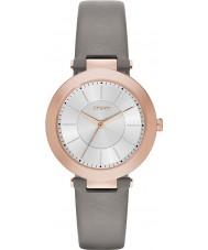 DKNY NY2296 Ladies Stanhope 2,0 mat grijs lederen band horloge