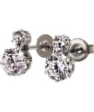 Edblad 31630124 Ladies kroon dubbele zilveren staal oorbellen