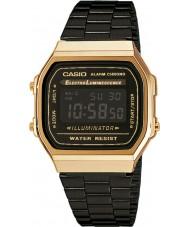 Casio A168WEGB-1BEF Mens collectie zwarte stalen armband horloge