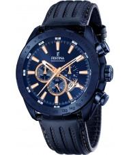 Festina F16898-1 Mens prestige blauw lederen chronograaf