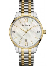Bulova 98S149 Ladies diamant two tone stalen armband horloge