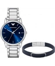 Emporio Armani AR8033 Mens jurk zilveren horloge en blauwe armband cadeau set