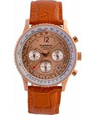 Krug-Baumen 400704DS Luchtreiziger diamant oranje lederen band horloge