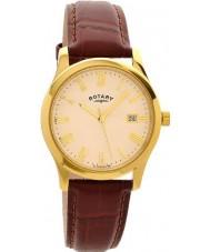 Rotary GS00794-32 Mens vergulde bruine horloge