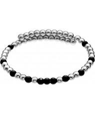 Emozioni DC151 Dames zwart en verzilverde wrap armband