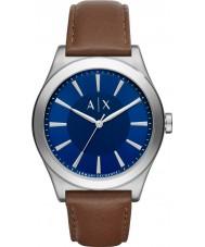 Armani Exchange AX2324 Mannen kleding donker bruin lederen band horloge