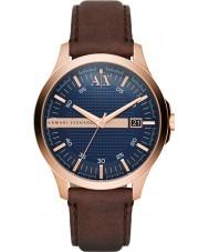 Armani Exchange AX2172 Mens jurk donker bruin lederen band horloge