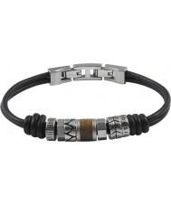 Fossil JF84196040 Mens vintage toevallige zwarte lederen armband