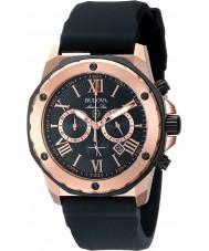 Bulova 98B104 Mens marine ster zwarte rubberen band chronograaf horloge
