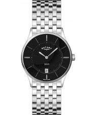 Rotary GB08200-04 Mens ultra slanke zwarte stalen horloge