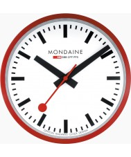 Mondaine A990-CLOCK-11SBC Rode metalen wandklok