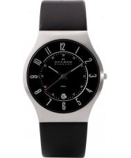 Skagen 233XXLSLB Mens klassik zwart lederen band horloge
