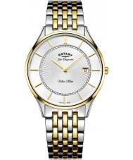 Rotary GB90801-02 Mens ultraslanke two tone stalen armband horloge