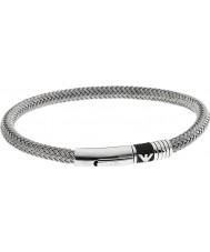 Emporio Armani EGS1623040 Mens handtekening rubberen inleg 2 zilveren stalen armband