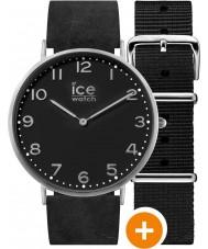 Ice-Watch 001357 Mens ice-stad horloge met zwarte nylon en zwart lederen riemen