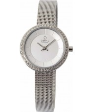 Obaku V146LECIMC Ladies stenen set zilveren mesh armband horloge