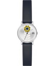 Orla Kiely OK2047 Ladies Valentina zwart lederen band horloge